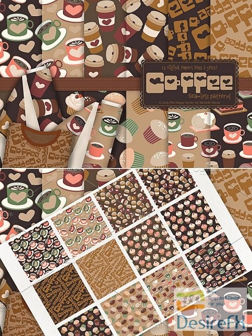 stock-vectors - Coffee Shop 01 - Seamless Patterns - 3351207
