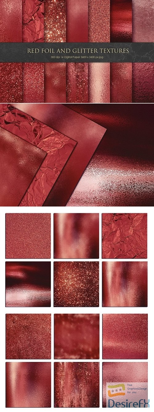 stock-images - Valentine Red Foil and Glitter Textures - 3333550