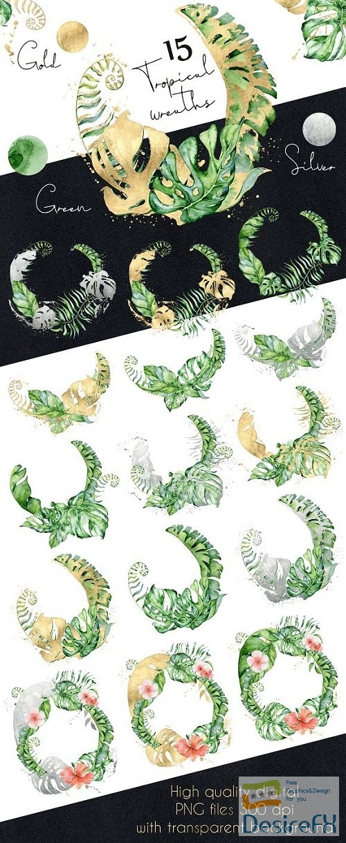 photoshop - 15 Tropical wreaths watercolor - 3498302