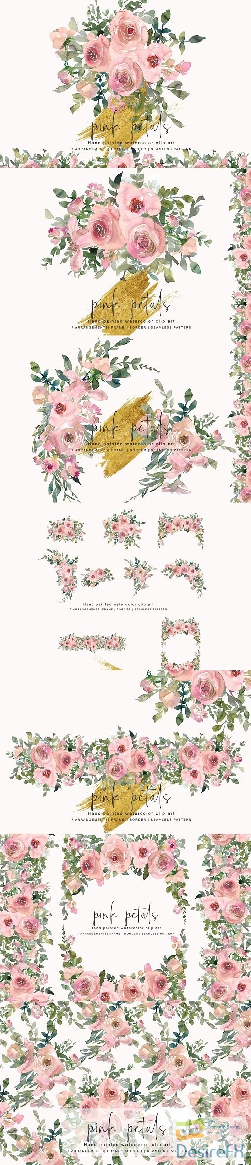 photoshop - Watercolor Blush Rose Clipart - 3355243
