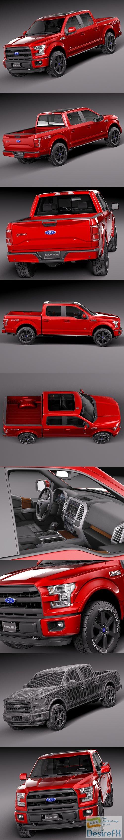 Ford F150 Lariat CrewCab 2015 3D Model