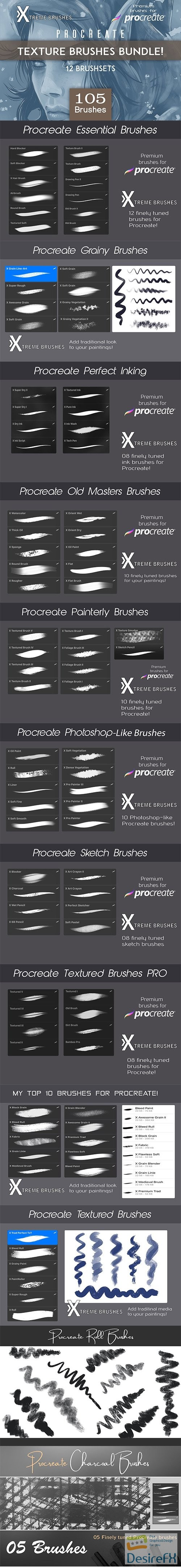 photoshop - CreativeMarket - Procreate Texture Brushes BUNDLE 3480564