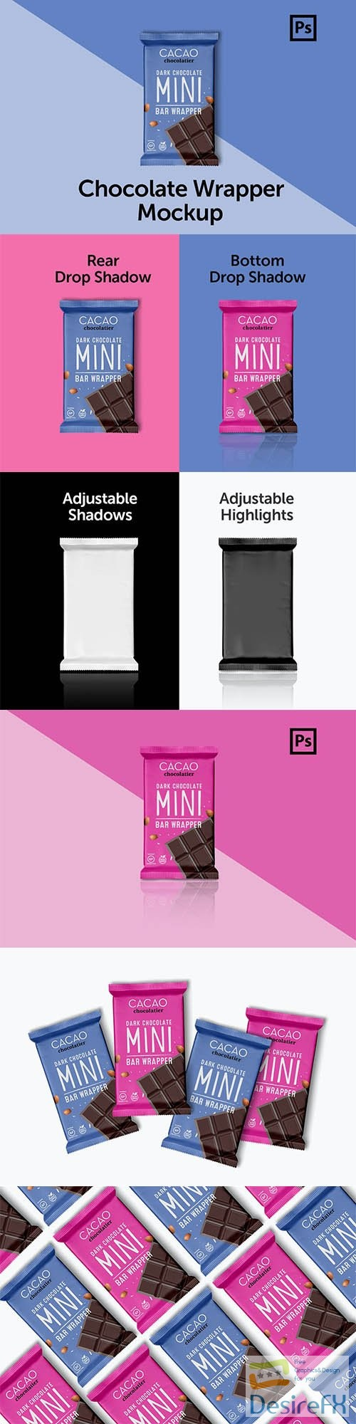 mock-up - CreativeMarket - Mini Chocolate Wrapper Mockup 3653302