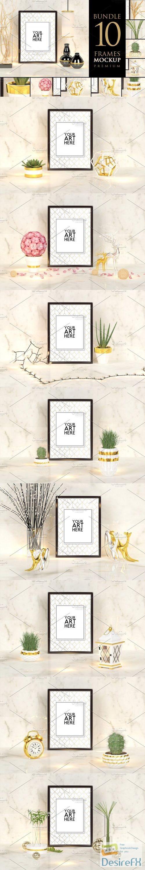 mock-up - CreativeMarket - Bundle 10 frames - Mockup Premium 3698793