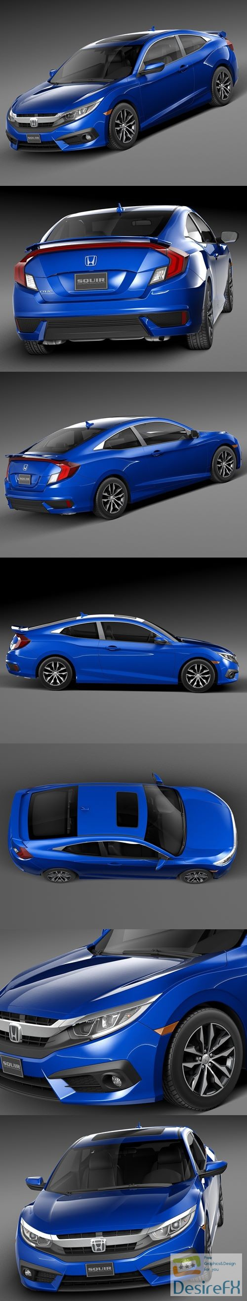 Honda Civic Coupe 2016 3D Model