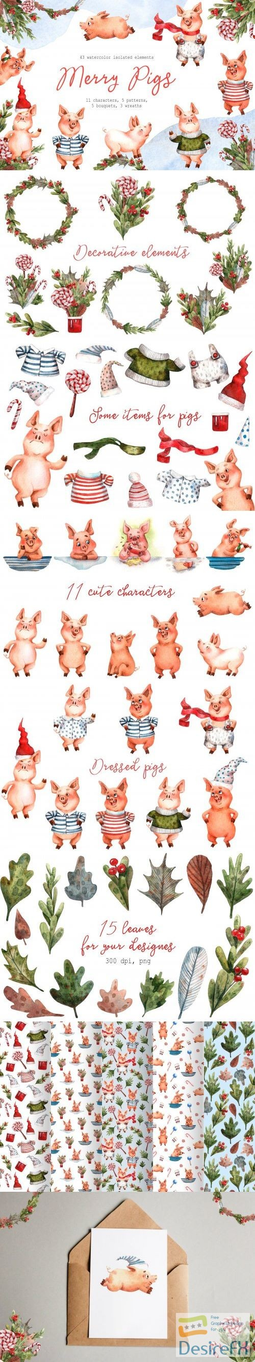 stock-images - Merry Pigs - Watercolor Clip Art Set - 3207665