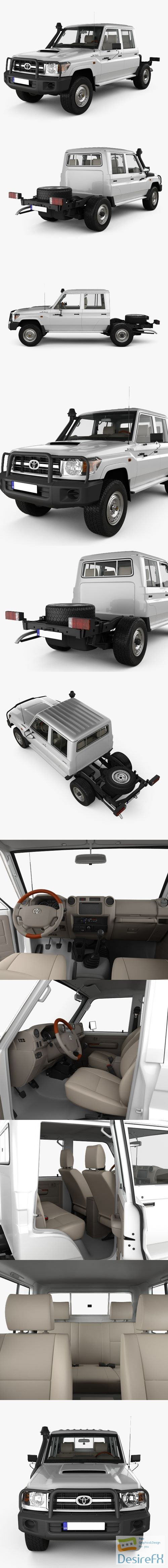 3d-models - Toyota Land Cruiser Double Cab Chassis 2012 with HQ interior 3D Model