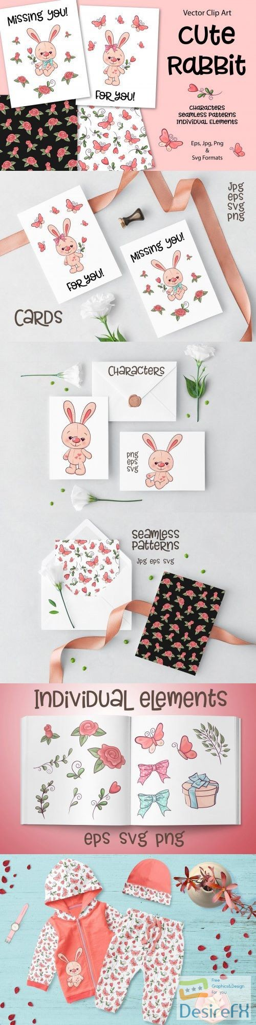 Cute Rabbit - vector clip art - 3717345