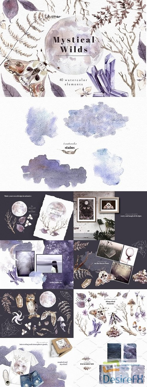 stock-images - Mystical Wilds. Watercolor set - 3780051