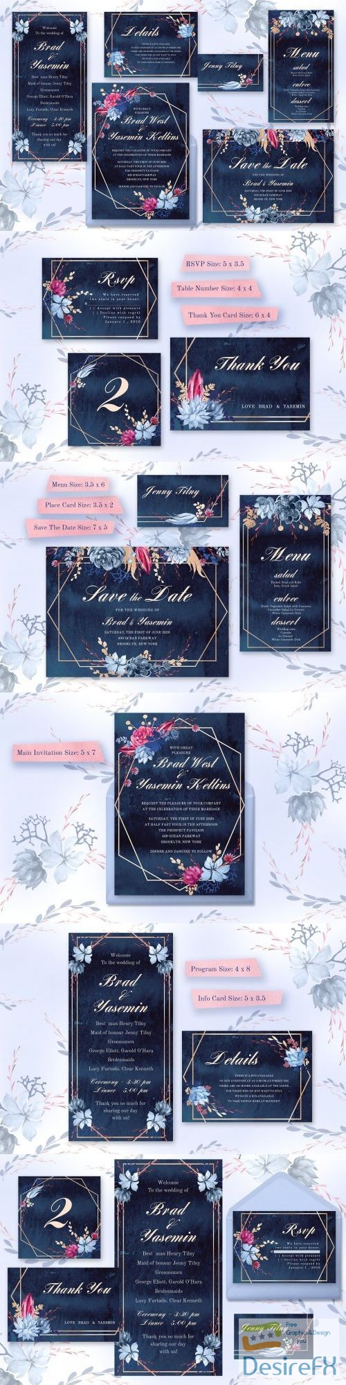 Navy Watercolor Wedding Invitations 3667903