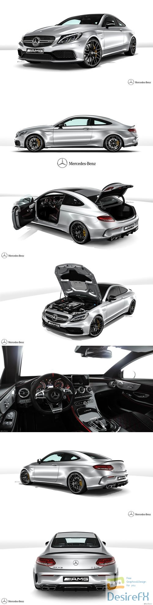 Mercedes-Benz C63 AMG Coupe 2016 3D Model