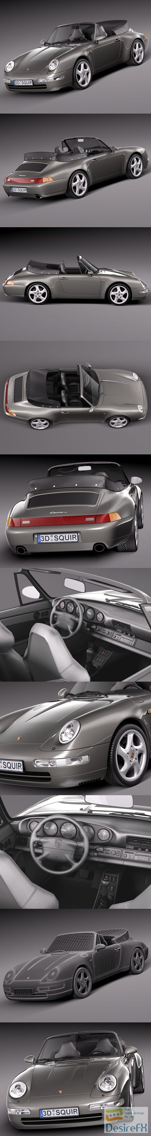 Porsche 911 993 Carrera Cabrio 1994-1997 3D Model