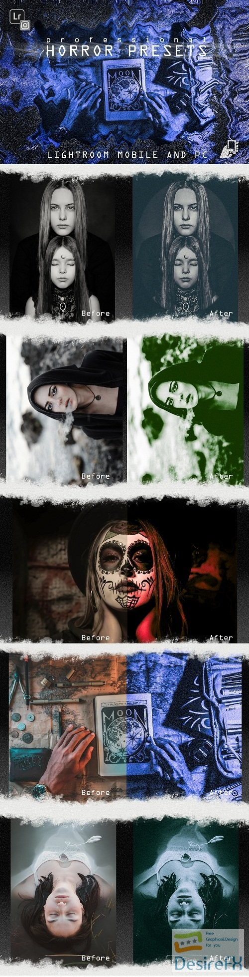 photoshop - 5 Horror presets lightroom mobile pc halloween black white - 255557