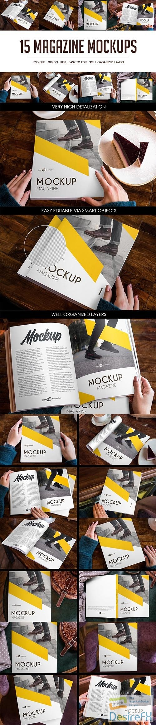 mock-up - CreativeMarket - 15 Magazine MockUps 3591633