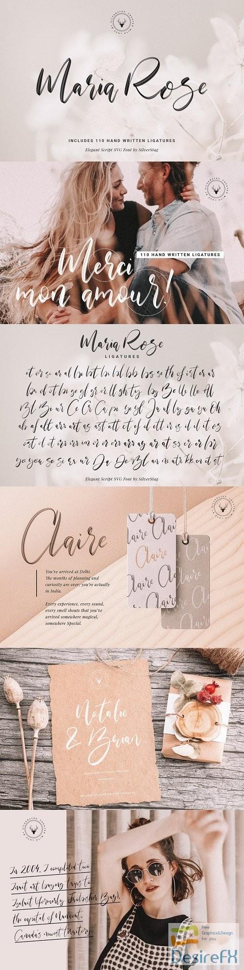 Maria Rose Elegant Script SVG Font - 3727769