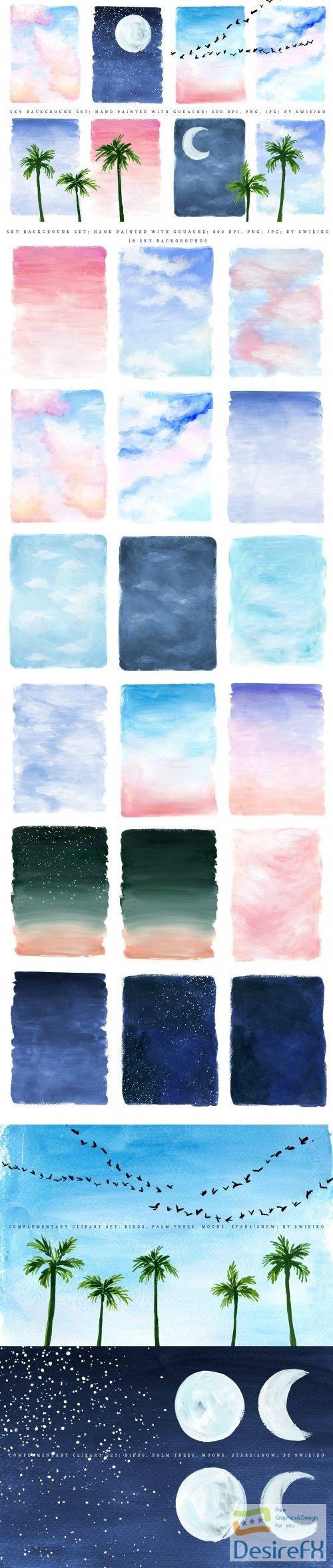 Sky background, illustration set - 2303621