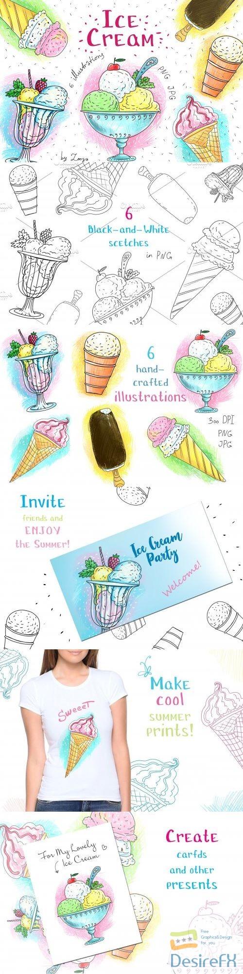 Ice Cream - 6 illustrations+ - 3872463