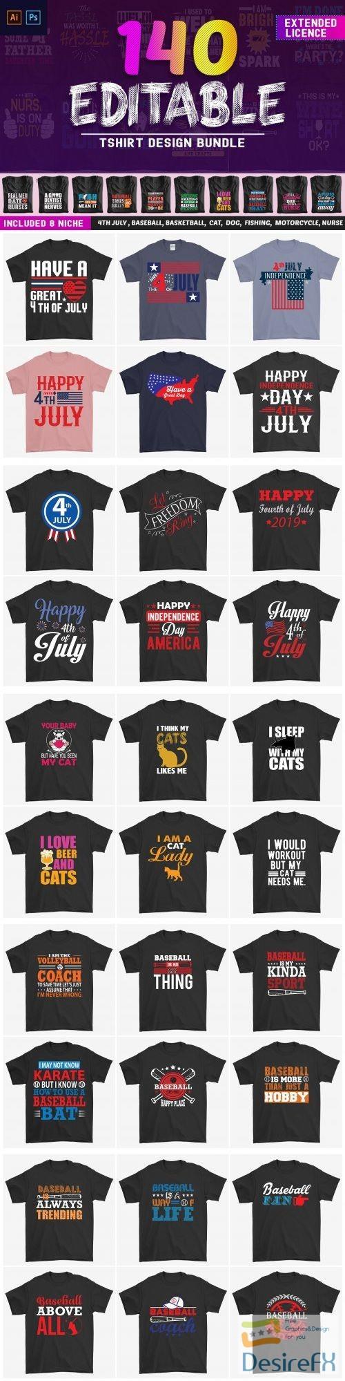 t-shirts-prints - 140 Editable T-shirt Design Bundle - 3888198