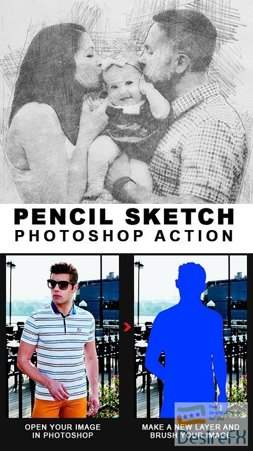 actions-atn - Pencil Sketch Photoshop Action - 21718327