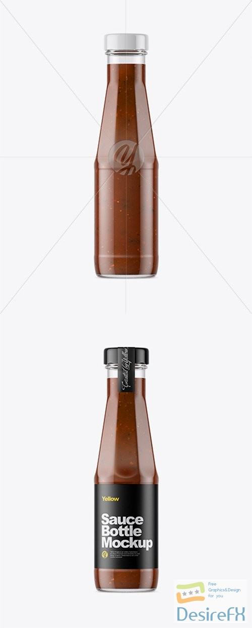 mock-up - Clear Glass Bottle with BBQ Sauce Mockup 33373 TIF