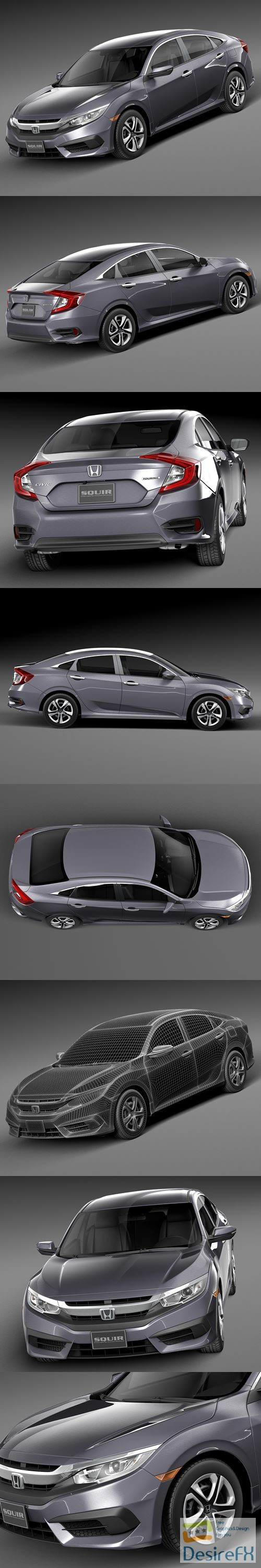 Honda Civic Sedan LX 2016 3D Model