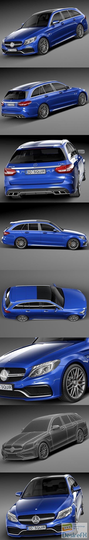 3d-models - Mercedes-Benz C63 AMG W205 Estate 2015 3D Model