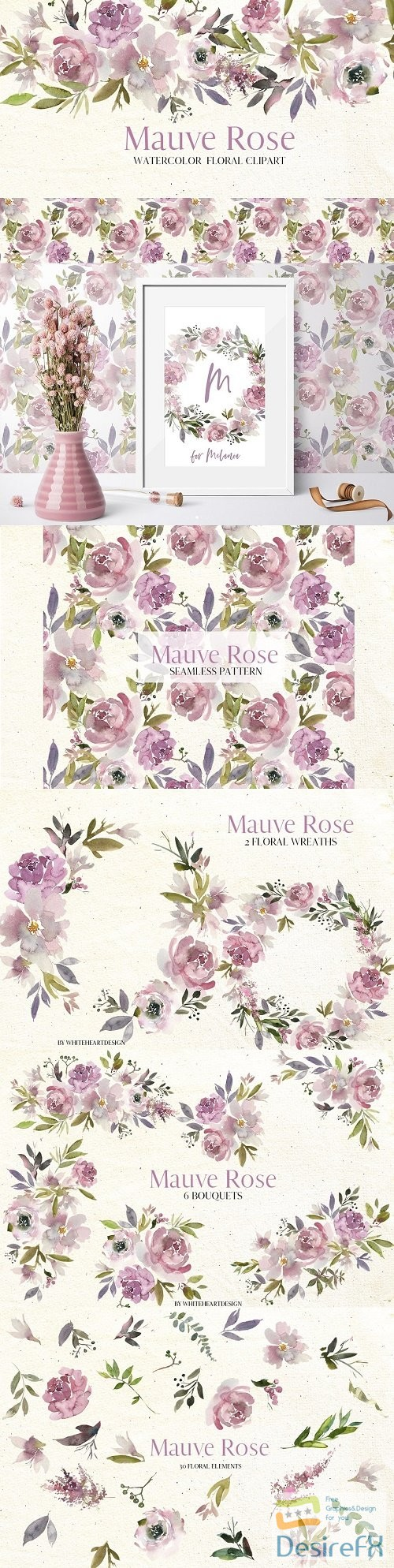 Mauve Rose Watercolor Floral Clipart - 2997079