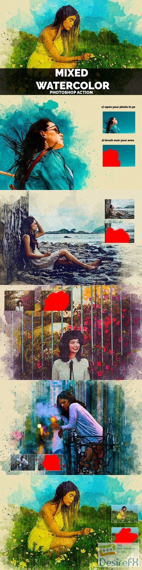 actions-atn - Mixed Watercolor Photoshop Action 3857279