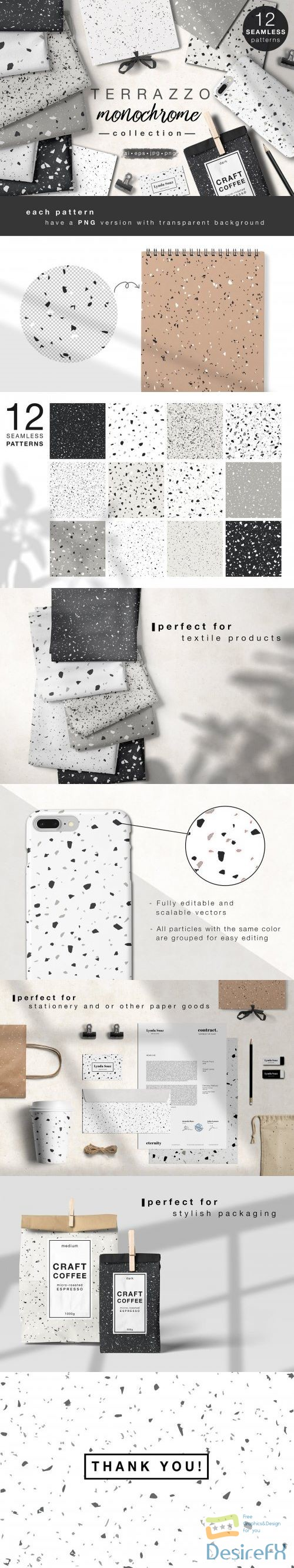 stock-vectors - TERRAZZO monochrome collection - 3950969