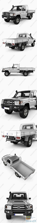 3d-models - Toyota Land Cruiser J70 Pickup GXL 2008 3D Model