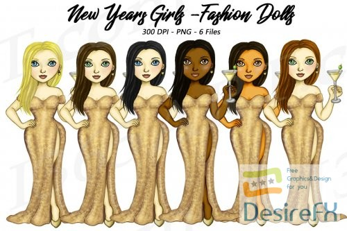 New Years Eve Clipart, Fashion Girls Illustrations, PNG - 210403