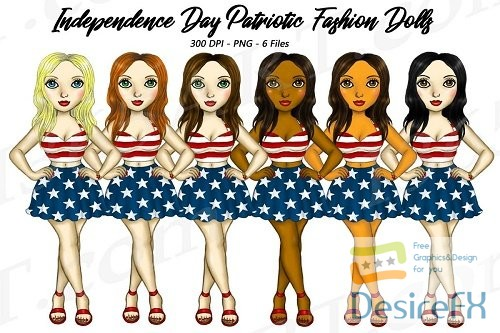 stock-images - 4th of July Fashion Girls Planner Clipart, America USA PNG - 272745