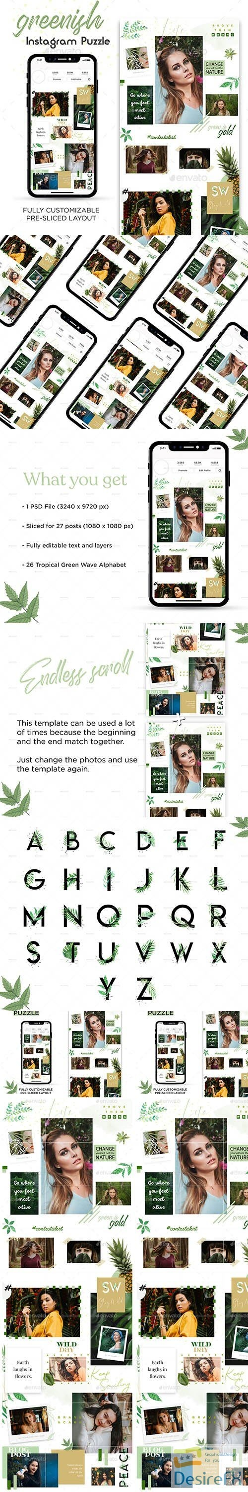 layered-psd - Greenish Instagram Puzzle Template 24242169