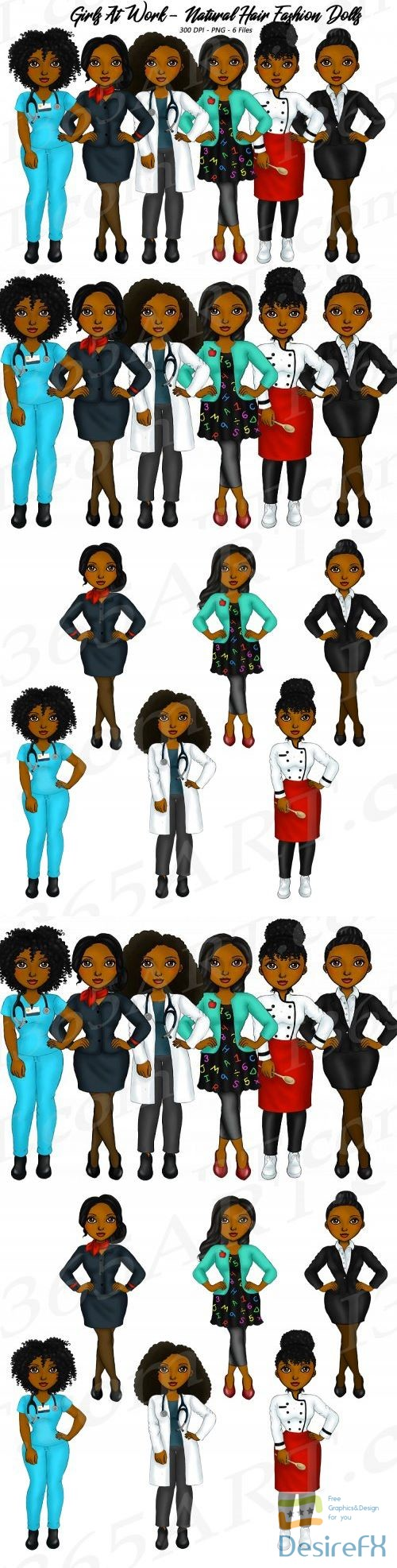 stock-images - Girls At Work Fashion Clipart, Girl Boss, Natural Hair Girls - 305903