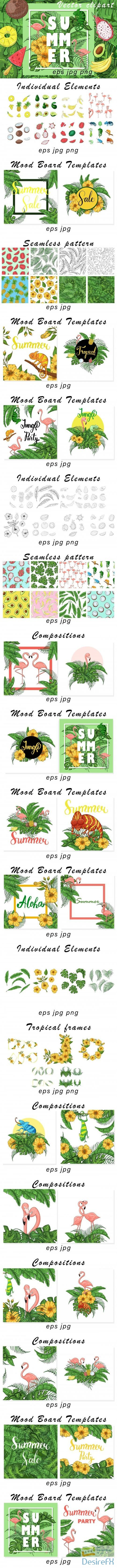 Summer Vector clipart and pattern - 4008251