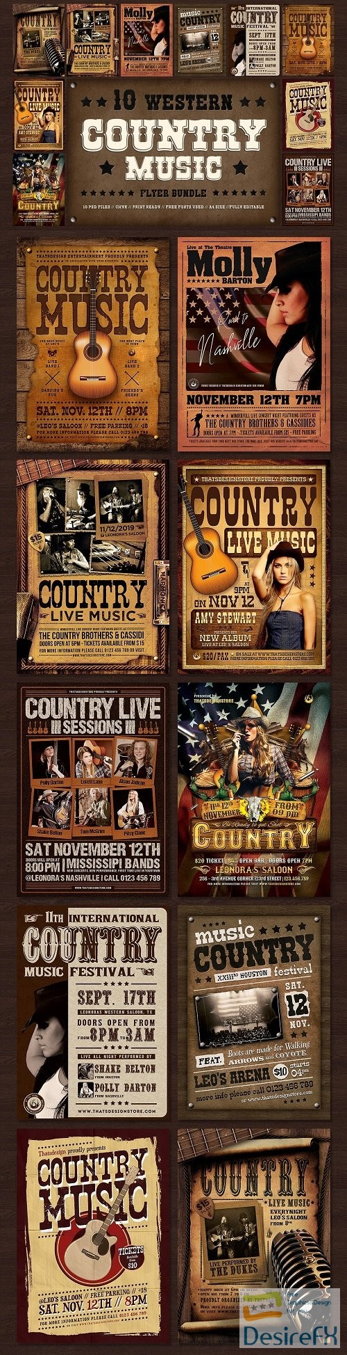 layered-psd - 10 Country music Flyer Bundle - 3804675