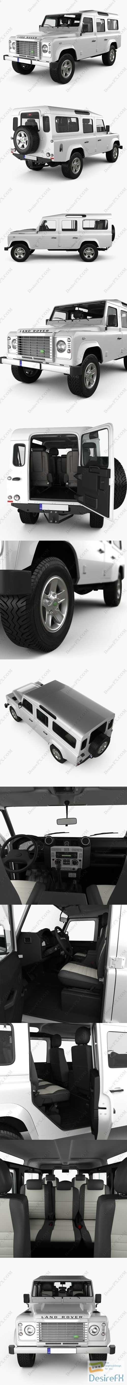 3d-models - Land Rover Defender 110 Station Wagon with HQ interior 2011 3D Model