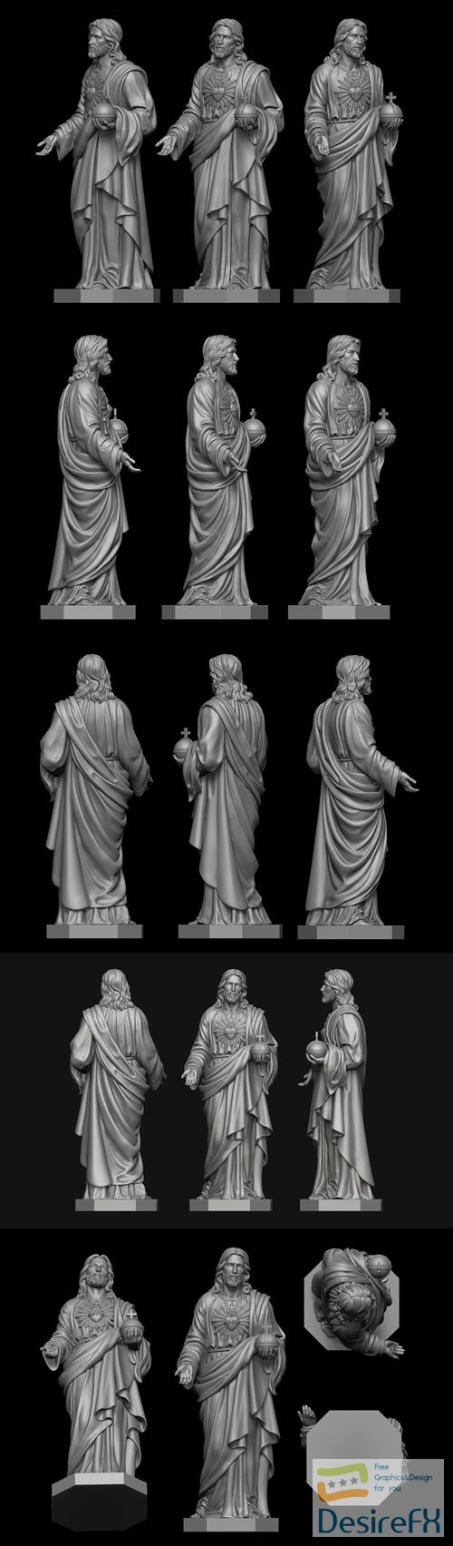 Jesus with Sacred Heart Statue 3D print model
