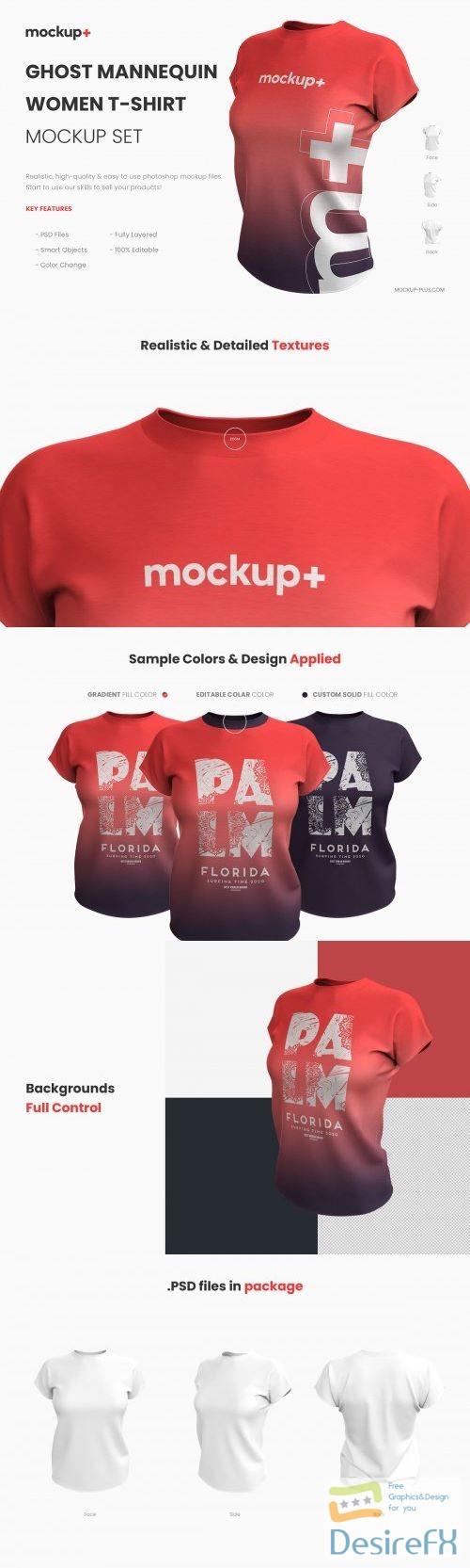 mock-up - Realistic Women T-Shirt Mockup 3991699