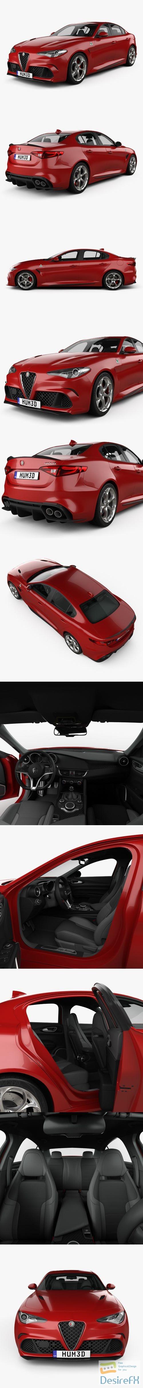3d-models - Alfa Romeo Giulia Quadrifoglio with HQ interior 2016 3D Model