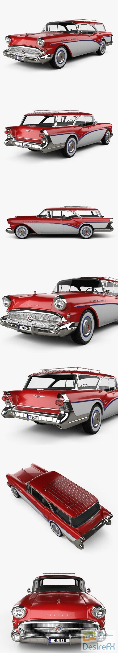 3d-models - Buick Century Caballero wagon 1957 3D Model