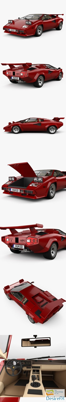 3d-models - Lamborghini Countach 5000 QV with HQ interior 1985 3D Model
