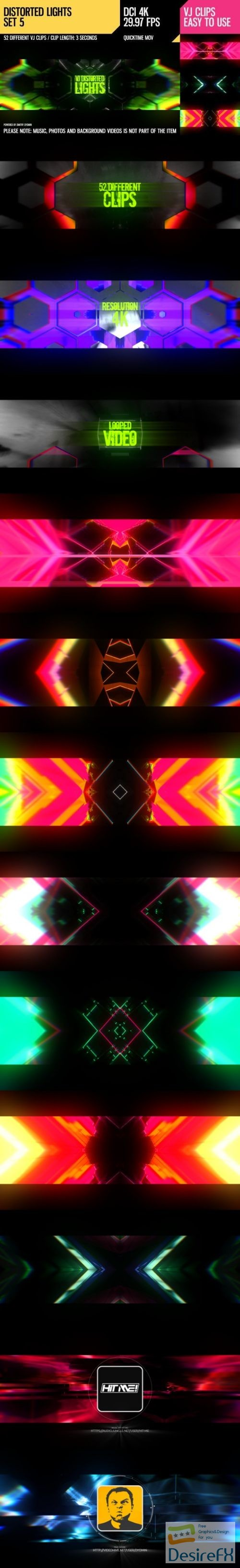 after-effects-projects - Videohive VJ Distorted Lights (4K Set 5) 19201159