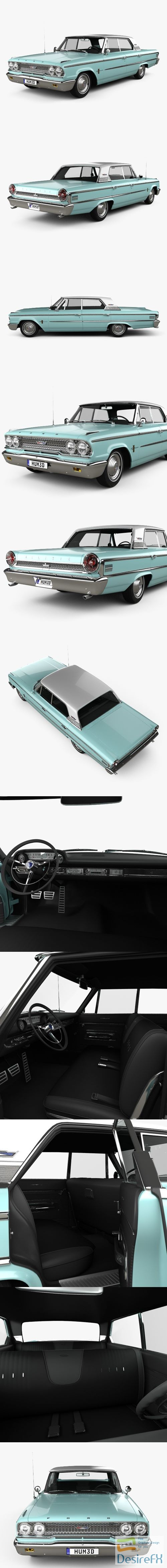 3d-models - Ford Galaxie 500 hardtop with HQ interior 1963 3D Model