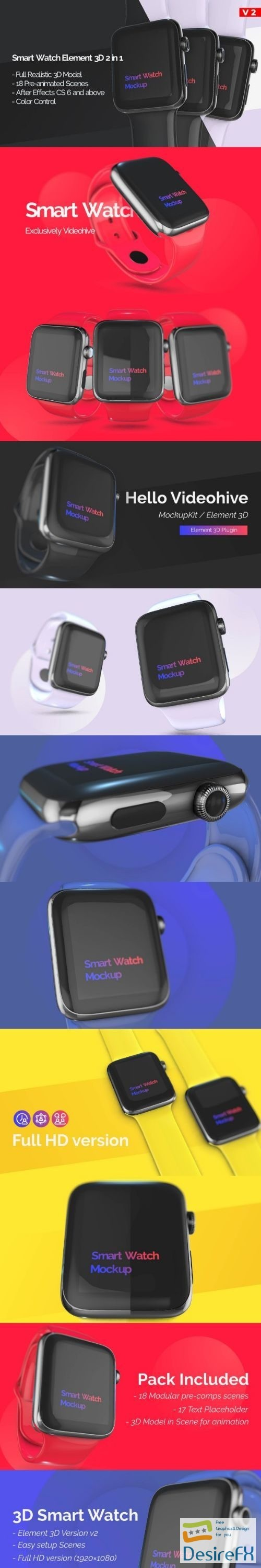 after-effects-projects - Videohive Smart Watch 3D Model Mockup - App Promo 23385934