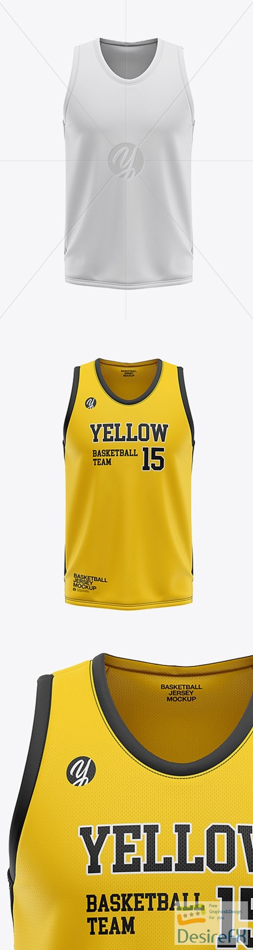 mock-up - Mens U-Neck Basketball Jersey Mockup - Front View 36120