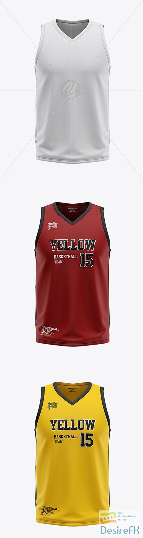 mock-up - Mens V-Neck Basketball Jersey Mockup - Front View 36056