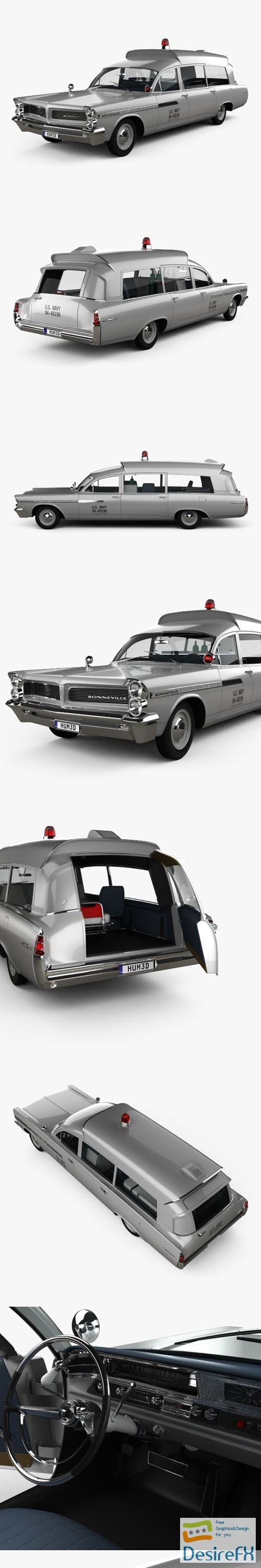 3d-models - Pontiac Bonneville Station Wagon Ambulance Kennedy with HQ interior 1963 3D Model