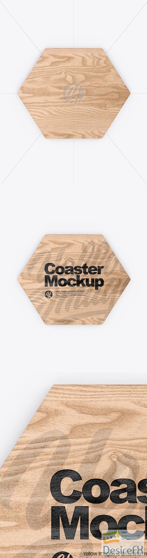 mock-up - Wooden Beverage Coaster Mockup 52118 TIF