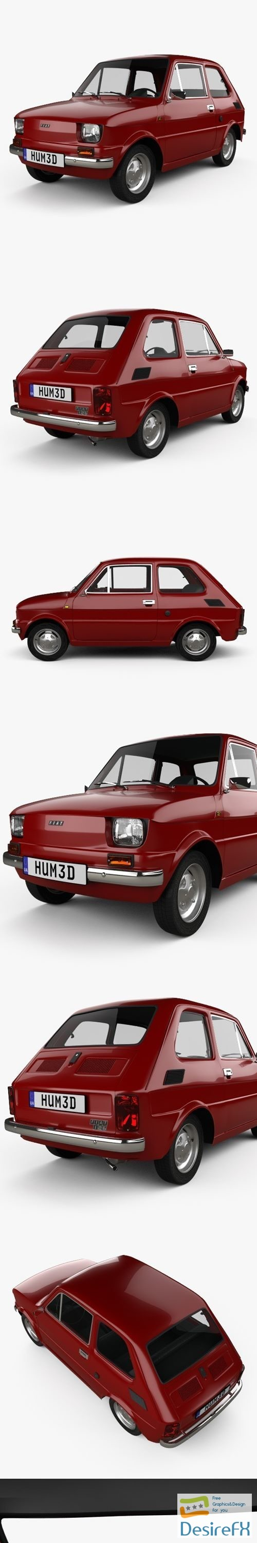 3d-models - Fiat 126 with HQ interior 1976 3D Model